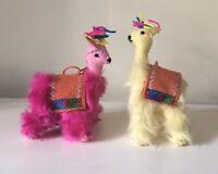 Pair Of Llama Furry Fair Trade Hanging Decoration Hot Pink And Mellow Yellow