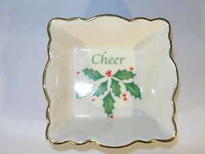 """Small Porcelain Square """"Holiday"""" Christmas Nut or Candy Dish by Lenox"""