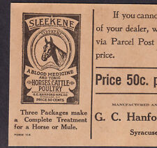 Horse Blood Cure Syracuse NY Sleekene Mule Cattle Poultry Pig Farm Medicine Card