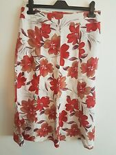 Ladies Womens Girls Long Bright Red & White Floral Skirt Size 10 By MIA MODA