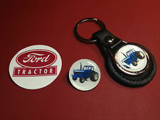 2# FORD  TRACTORS:  LEATHER KEY RING,   SILVER PLATED  BADGE  +    PHONE STICKER