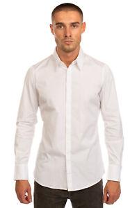 RRP €380 DSQUARED2 Shirt Size 52 / XXL Stretch White Long Sleeve Regular Collar