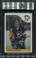 MARIO LEMIEUX signed autographed 1985-86 TOPPS ROOKIE CARD RC BECKETT (BAS) 10