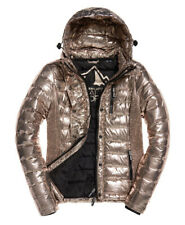 Superdry Womens Fuji Double Zip Hooded Quilted Jacket Coat - Rose Gold Metallic