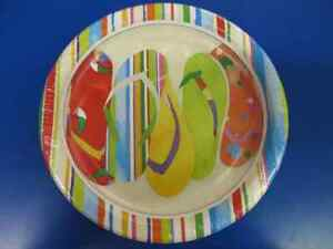 """Day at the Beach Flip Flop Sandal Summer Luau Pool Party 9"""" Paper Dinner Plates"""