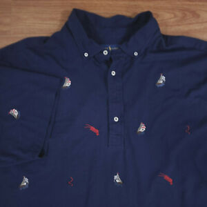 Men's Polo Ralph Lauren Embroidered Knit Oxford Polo Blue 4XLT Tall 4X