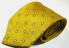 Bvgari Floral Pattern Gold Color Silk Seven 7 Fold Necktie Tie Made In Italy