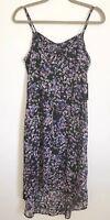 NWT Express Black Mini Floral Print High Low Slip Dress XS Womens Midi