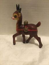 """6"""" Vintage Rare Plastic Sleepy Eye Reindeer Harness & Bells Christmas Japan"""