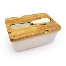 Beurrier en porcelaine Couvercle Bois de 14,5x10,8cm Bac Rangement Céramique Set