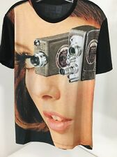 REDBUBBLE MEN'S VINTAGE CAMERA/WOMAN SHORT SLEEVE T SHIRT CHARCOAL/BLACK XS NEW