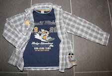 Tolles 2-tlg. Set LA-Shirt + kariertes Hemd mit Mickey Mouse in Gr. 116 von C&A