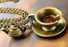 TIME FOR TEA vintage brass CHARM NECKLACE kitsch CUP & SAUCER teacup TEAPOT long