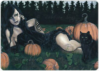 Gothic Fantasy Art ACEO PRINT Pumpkins Halloween Cat