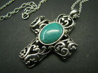 STERLING SILVER Chain Necklace FANCY SCROLL-WORK CROSS PENDANT Turquoise Cab VTG