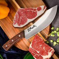 Full Tang Butcher Knife Butchery Tool Bone Ribs Steak Meat Slice Cut Wood Handle