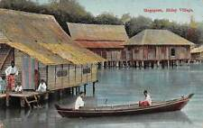 SINGAPORE ~ MALAY VILLAGE, PEOPLE, HOMES, BOAT ~ c. 1904-14