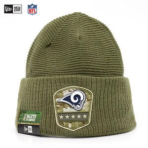 New Era NFL Los Angeles Rams Salute to Service Winter Mütze Beanie Olive Sale