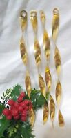 """Vintage Metal Icicle Spiral Twisted Gold Tone 4 about 6"""" Christmas Ornaments"""