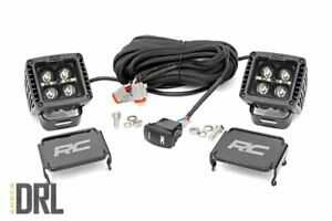 Rough Country 2-inch Square Cree LED Lights-Pair | Black Series w/ Amber DRL