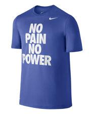 Nike Men's White No Pain No Power Swoosh Athletic Performance Gym Blue Shirt