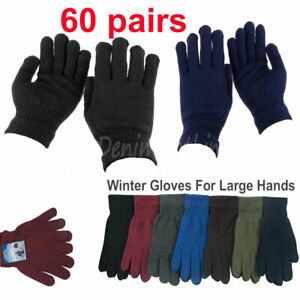 60 pairs Men's Solid Large Hands Warm Knitted Magic Winter Gloves Wholesale Lots