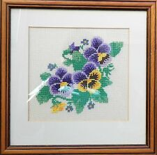 Framed Hand Embroidered Picture, Pansies Flowers