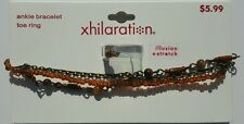 "XHILARATION Ankle Bracelet and Toe Ring Set – 9 ½"" – Bronze, Brown & Amber Tones"