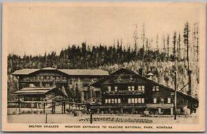 "Vintage 1930s GLACIER NATIONAL PARK Postcard ""Belton Chalets"" Albertype / Unused"