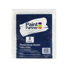 2x Paint Partner PLASTIC DROP SHEET 2.6x3.6m 8Pcs,Multi-Purpose Protection,CLEAR