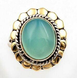 Two Tone Aventurine 925 Sterling Silver Ring Jewelry Sz 7.5, ED23-1