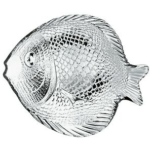 Pasabahce Textured Fish Shaped Serving Clear Glass Platter Plate Dish Set Of 6