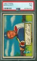 1952 Topps, #014 (red back), Bob Elliott, Boston Braves, PSA NM 7, Well Centered