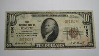 $10 1929 Seattle Washington WA National Currency Bank Note Bill Ch. #11280 RARE!