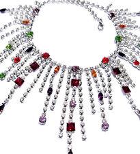 Rhinestone Choker Necklace Bridal Drag Queen Multi Color Crystals Goddess Drag