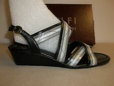 Amalfi by Rangoni Size 6 M Monte Black Leather Wedge Sandals New Womens Shoes