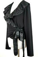 Joseph Ribkoff Ruffled Wrap Blouse Top Black Jersey Tie Waist Gorgeous US 14