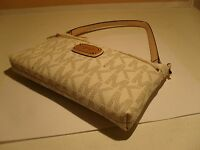 NWT Michael Kors MK Vanilla PVC Top Zip LG Wristlet Wallet Coin Phone Case New