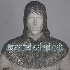 Chain Mail Coif Flat Riveted with Flat Washer Coif 9 mm, Blackend Chainmail Hood
