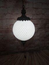 Hobnail Globe Milk Glass Hanging Pendant Swag Lamp Light Fixture White Vintage