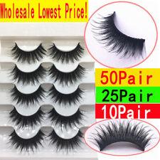 50 Pairs 100% Real Mink 3D Volume Corner Thick False Eyelashes Strip Lashes Lot