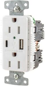 Hubbell USB15AC5WP USB Combo Type A&C Charger Outlet