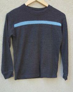 GNARLY Boys Long Sleeved Skater Shirt Size 10-12 Gray Blue Stripe Stretch
