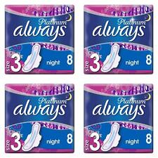 Always Platinum Ultra Night Sanitary Pads Towels with Wings - Size 3 - 32 Pack