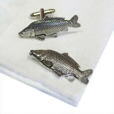 Silver Pewter Common Carp Cufflinks Handmade in England Fishing Cuff Links New