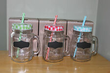 SET OF 3 GLASS MASON DRINKING JARS WITH HANDLE .STRAW AND CHALKBOARD