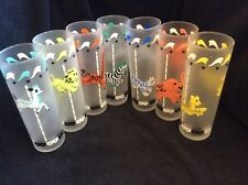 Vintage Set 7 Libby Frosted Carousel Circus Animal Iced Tea Collins Glasses
