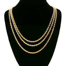 Men's 24K Gold Plated 3 Pcs 4mm Rope Chain Hip Hop Style Necklace Bundle Set