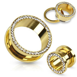 PAIR Gem Rimmed Gold PVD Plated Tunnels Plugs Earlets Gauges