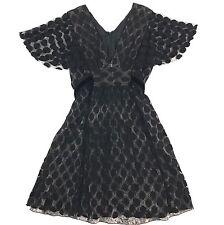 ANNA SUI Size 4 Black Lace Layered Sheer Cap Sleeve Dress w/ Back Waist Tie Belt